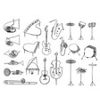 collection outline drawing music instruments vector image