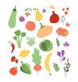 color fruits vegetables onion lemon banana vector image