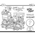 counting vehicles coloring page vector image vector image