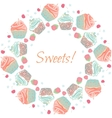 Cupcakes and berries garland frame or vector image vector image