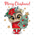 cute cartoon owl with christmas tree on a white vector image vector image