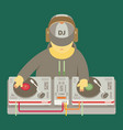 dj character music musical entertainment flat vector image