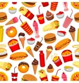 Fast food meal seamless pattern vector image vector image