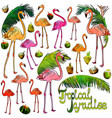 flamingo and palm leaves vector image vector image