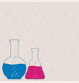 flasks beakers chemical laboratory equipment on vector image