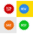 four disccount round badges vector image