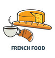 french food france cuisine breakfast dairy and vector image vector image