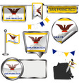 glossy icons with flag of san francisco vector image