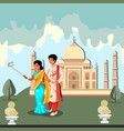 happy indian couple makes selfie vector image vector image
