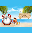 last minute summer vacation background alarm vector image vector image