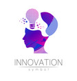 logo sign of innovation in science lamp symbol vector image