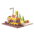 low poly hot dog food truck vector image