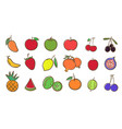 mix fruits collection cute colorful vector image