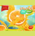 orange juice sweet fruits 3d realistic package vector image vector image