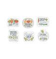 organic food shop labels set eco healthy natural vector image vector image