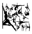 pole dancer gesture silhouettes vector image