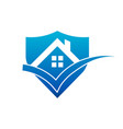 real estate house roof check mark shield icon vector image