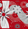 red grey and white geometric modern flowers vector image