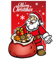 santa with a bunch of christmas gift vector image vector image