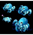 Set blue cute octopuses on a black background vector image vector image