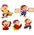 set monkey cartoon character vector image vector image