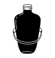 silhoouette long mason jar with wire handle design vector image vector image