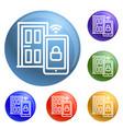 smart door icons set vector image