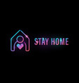 stay at home icon human with house and heart vector image