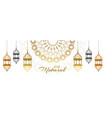 stylish eid festival decorative lamps banner vector image
