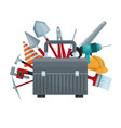 white background with suitcase of tool with vector image vector image