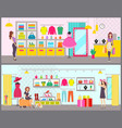 woman shopping in brand clothes boutique vector image