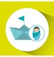 boy newborn wrap paper ship design vector image