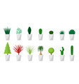 set of green plant in white pot for interior vector image