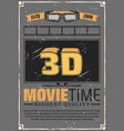 3d effect tv glasses and cinema film vector image vector image