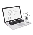 a laptop with doodle art vector image