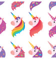 a set portraits unicorns in cartoon style a vector image vector image