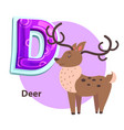 abc flashcard with deer for d letter presentation vector image vector image