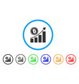 bitcoin growth trend rounded icon vector image vector image