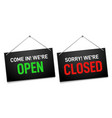 black open and closed sign dark shop door vector image vector image