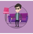 Blind man with walking stick vector image vector image
