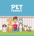 boy with pets cartoon vector image
