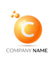 c letter splash orange dots and circle bubble vector image vector image