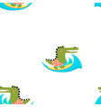 cartoon crocodile pattern vector image
