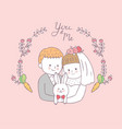 cartoon cute bride hug groom and rabbit vector image