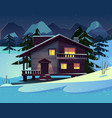 cartoon luxury hotel chalet at night vector image vector image
