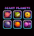 cartoon scary planet app icons set vector image vector image