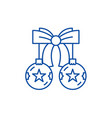 christmas balls with bow line icon concept vector image