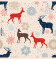 christmas snow deer background winter holiday vector image vector image