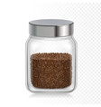 coffee glass jar instant coffee granules package vector image vector image