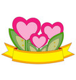 colorful poster heart plants with leafs and golden vector image vector image